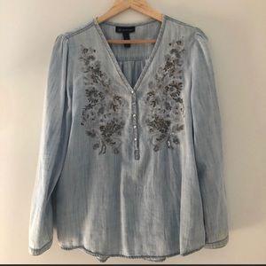🌼Blouse Sale🌼 Denim Embroidery Sequin Blouse